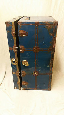 Wonderful, 1960's 'shabby chic' trunk in sturdy painted blue wood and metal.