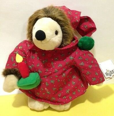 Russ Berrie Prickles Christmas Hedgehog Nightshirt, Cap & Candle Plush Toy w/tag