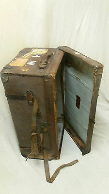 Antique 1890's/1900's theatrical style trunk in wood and leather.