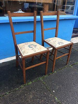 Pair of Edwardian inlaid bedroom chairs #1275