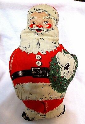 Hard To Find Antique 1920's Santa Claus Holding Wreath Stuffed Doll EUC