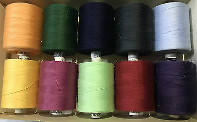 10 x 75s 100% POLYESTER THREAD,VARIOUS COLS~1000 METER EACH SPOOL~SUPERIOR QUAL
