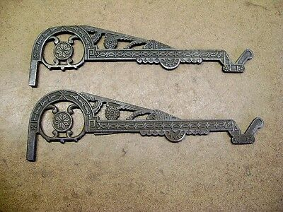 2 Antique Victorian Fancy CAST IRON PLANT HOOKS No Wall Brackets Exc. Design!
