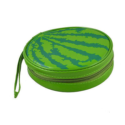 Leather 24 Sheet CD DVD Storage Carrying Bag Holder Watermelon Organizer Cases