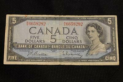 1954 $5 Five Dollar Canada Note Not Devils Face