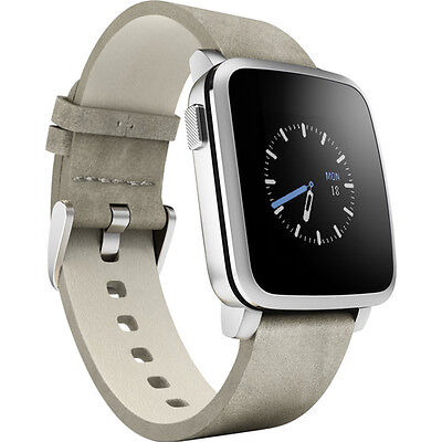 Pebble Time Steel 38mm Silver with Leather Band Smartwatch for iOS / Android