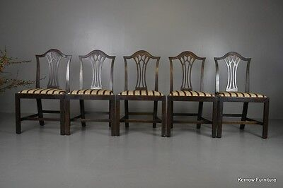 Set 5 Chippendale Style Antique Mahogany Dining Chairs