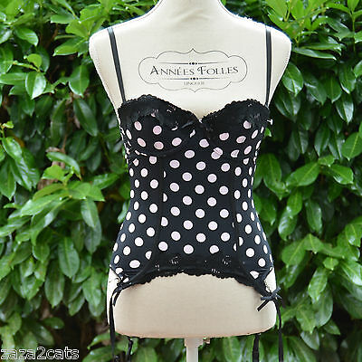 Femme GUEPIERE MICRO Sexy overbust Serre Taille Bustier NOIR POIS ROSE 85B SACHA