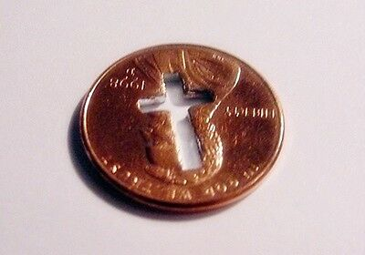 CROSS CUT OUT PENNY   Coin Token Charm