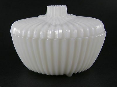 Akro Agate, Ribbed Powder Jar, White, Mint!!!