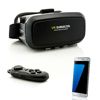 3D VR Brille Virtual Reality für Samsung Galaxy S5 S6 S7 Edge S8 + Controller