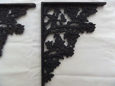 Antique Cast Iron Architectural Shelf Brackets  Acorns Leaves  Set of Two