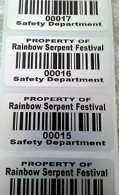 """100 2"""" x 1"""" Custom Printed White Premium Polyester asset tags Stickers Labels"""
