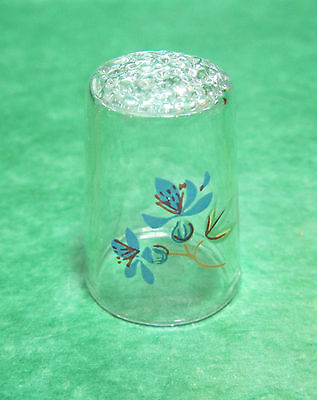 1 - Blue Floral Clear Glass Thimble