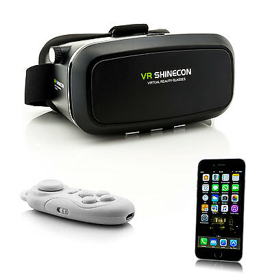 3D VR Brille Virtual Reality für iPhone 7 Plus 6 S 5 4 Videobrille + Controller