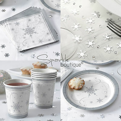 SILVER SNOWFLAKE CHRISTMAS PARTY SET-Napkins/Plates/Cups/Table Confetti/Crystals