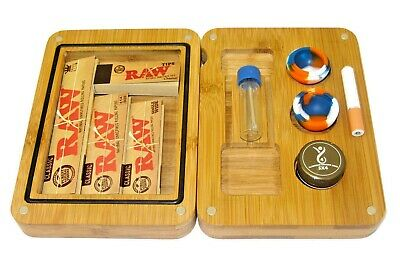 Bamboo Backflip Wooden Rolling Tray Set Raw Papers Roach Tips Grinder Snuff Tube