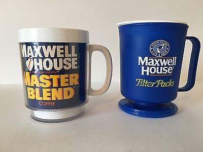 """Vintage Pair of Maxwell House Plastic Coffee Mugs """"good to the last drop"""""""