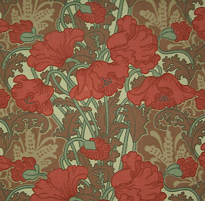 vintage 1970s Liberty Clementina floral poppy print cotton interiors fabric