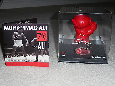 Muhammad Ali Boxing Glove Solid Silver Coin Mint In Case With Coa Limited Ed.