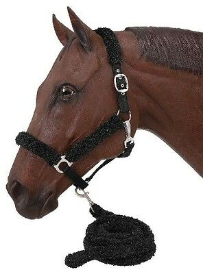 Tough 1 BLACK Fuzzy Halter and Lead FULL Size horse tack equine 50-9802