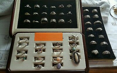 Huge Lot of 48 Sterling Silver Rings - Huge Variety