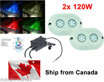 2pc 120w Marine Boat RGB Multicolor LED Underwater surface mount lights