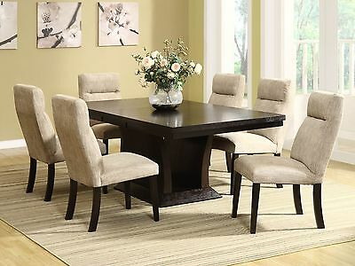RALPH - 7pcs Contemporary Espresso Rectangular Ash Dining Room Table Chairs Set