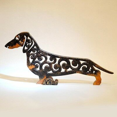 dachshund figurine, black and tan, statuette made of wood