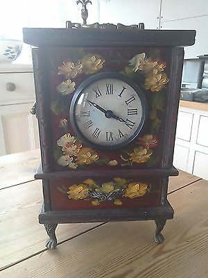 Beautiful antique reproduction handpainted large carraige clock.