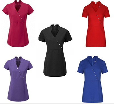 V Neck Beauty Hairdressing SPA Nail Salon Therapist Massage Tunic Uniform V4B