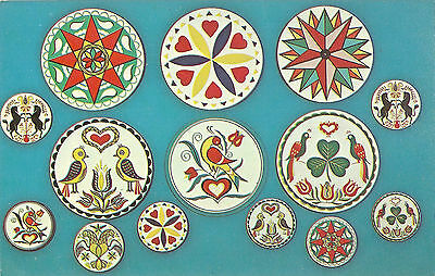 Vintage Old Postcard Unused Hex Signs From The Hex Barn Intercourse Pennsylvania