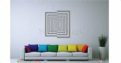 Concentric Square Illusion Wall Sticker Vinyl Decal Wall Art Transfers-REMOVABLE