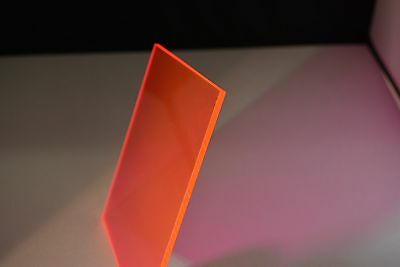 "Fluorescent Red acrylic plexiglass sheet 1/8"" x 24 x 12"""