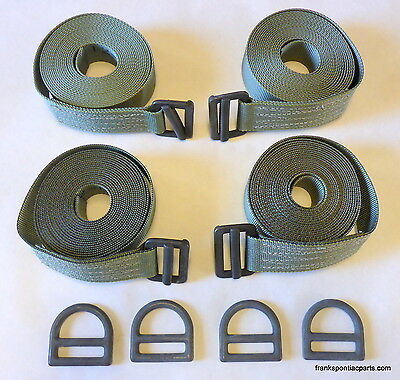 Set (4) 18' New Military Aerial Cargo Sling Tie Down Straps w/ D-Ring Lift Hooks