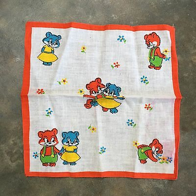 Old Retro Vintage Childrens Handkerchief Cartoon Bears In Love