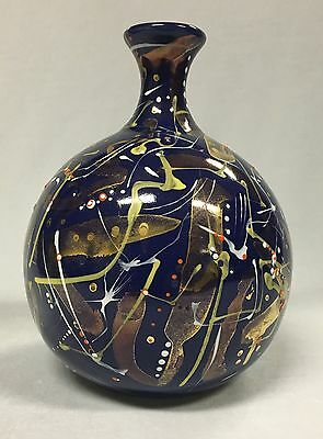 Vintage Cobalt Blue and Gold Pottery Vase 16cm