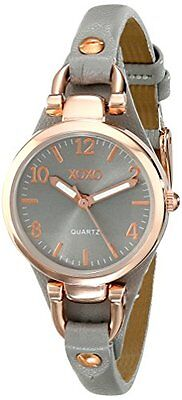 Women  Round Gray Watch with Narrow Faux Leather Band