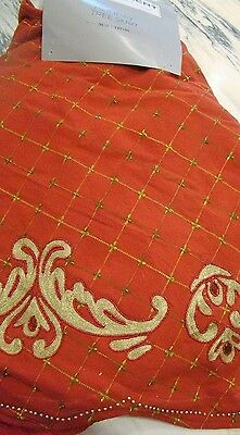 Kim Seybert Red & Gold Beaded Embroidered Holiday Christmas Tree Skirt Nwt