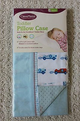 ClevaMama Toddler Pillow Case Blue with Race Cars