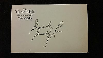Authentic Barney Ross Autograph, World Champion Boxer, Warwick Hotel Post Card