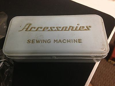 Vintage Accessories Sewing Machine Tin Box with Attachments