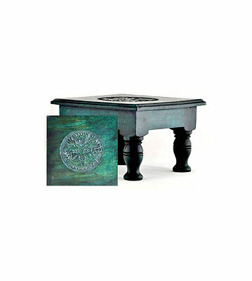 New Wicca Pagan Metaphysical Small Stained Wood Carved Green Man Altar Table