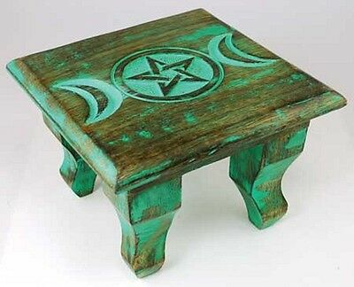Wicca Pagan Metaphysical Small Wood Antiqued Triple Moon Pentagram Altar Table