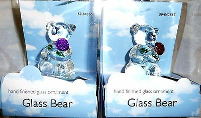 BEAR Hand Finished Glass Ornament Lot of 2 - Mounted on Round Mirror Stand