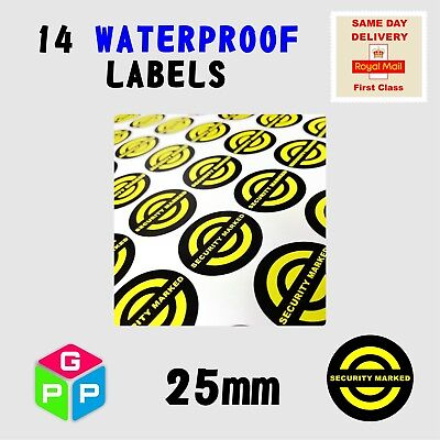 14 x All Weather WATERPROOF Security Marked, Warning Labels dedicated for uv pen