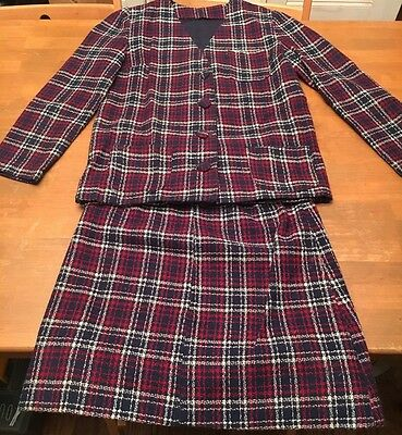 Women's Handmade 2-piece Vintage Jacket Skirt Suit Red/Blue Plaid Nice EVC Small