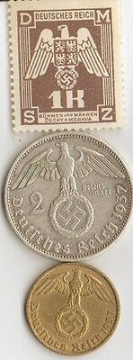-*WW2 - Silver,  Brass, Steel - *us  and *german   coins/STAMPS +*free ZINK coin