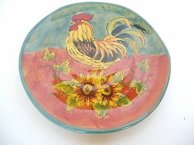 """Terra Rooster Colorful Decorative Plate Hand Painted 8.25"""" Round"""