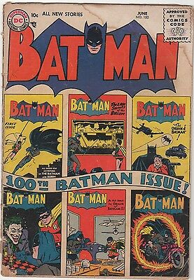Batman #100 June 1956 Classic Cover with #1 and other Key Covers Bob Kane
